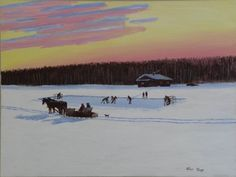 Allen Sapp - Cree Artist from Saskatchewan Hockey Night Native American Paintings, Native American Artists, American Indians, Canadian Painters, Canadian Artists, Outdoor Rink, Great Vacation Spots, American Traditional, Western Art