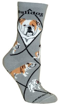 Bulldog Dog Gray Cotton Ladies Socks-Fast and free shipping in the USA