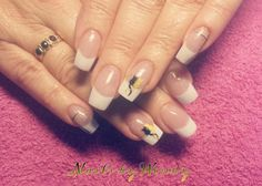 Set acrylnagels french manicure met kitty cat nailart!