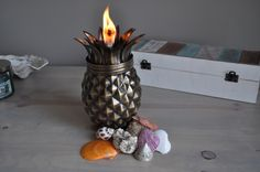 Pineapple Antique Finish Tabletop Torch