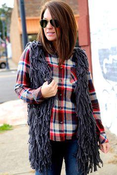 Charcoal Shag Vest