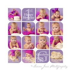 Cake Smash Photographer Erie, PA - purple, tutu, girl, baby, one, first birthday, collage, template, storyboard