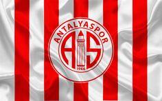 Download wallpapers Antalyaspor, football, Turkish football club, Antalyaspor emblem, logo, red white silk flag, Antalya, Turkey, Turkish Football Championship