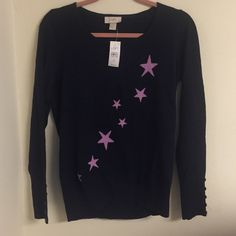 New LOFT navy/lavender star sweater Cute never worn navy sweater with lavender stars. Have row of 5 buttons details on sleeves.  S-M size smoke and cat free home. LOFT Sweaters Cardigans