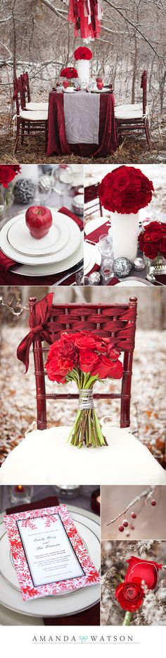 Winter dinner party. Love the chair decor!