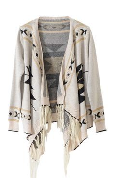 Light-cream Long Sleeve Asymmetrical Cardigan Sweater #southwest