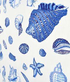 $21 Duralee  Shells Natural/Blue