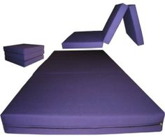 """Brand New Purple Shikibuton Trifold Foam Beds 3"""" Thick X 27"""" Wide X 75"""" Long, 1.8 lbs high density resilient white foam, Floor Foam Folding Mats. by D&D Futon Furniture. $65.00. Material: 100% Polyester.. Bed size when folding out: 3"""" thick x 27"""" wide x 75"""" long.. Ottoman when folding up: 9"""" high x 25"""" deep x 27"""" wide.. Condition:  Brand new.. Color:  Purple.. This trifold foam bed is also known as a shikibuton, it is perfectly used as a sleeper foam bed on the floor in your room..."""