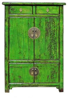 Chinese Bright Green Lacquer Restored Cabinet eclectic-china-cabinets-and-hutches