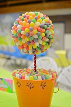 Gumdrop topiary at a Willy Wonka birthday party!   See more party ideas at CatchMyParty.com!