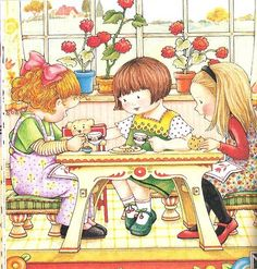 Mary Engelbreit ~ 3 friends or sisters / yep! Mary Engelbreit, Illustration Art, Illustrations, Tea Art, Vintage Cards, Paper Dolls, Childrens Books, Decoupage, Little Girls