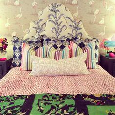 Furbish studio, pattern mixing, upholstered headboard, John robshaw fabric, flamingo wallpaper, #daretomix