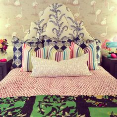 Furbish studio, pattern mixing, upholstered headboard, John robshaw fabric, flamingo wallpaper, #daretomix