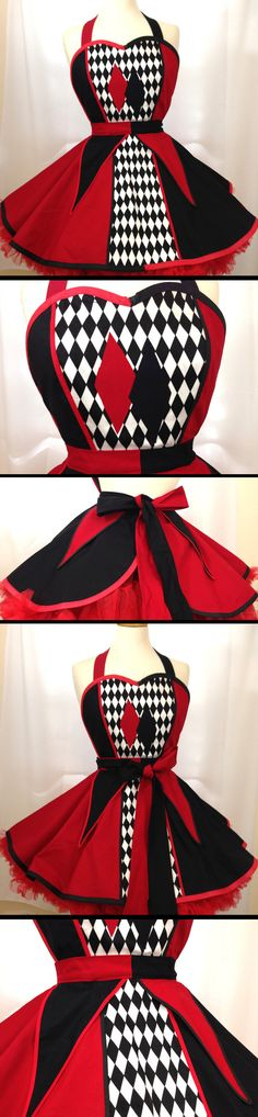 Red and Black & White Harley Quinn Pin Up Costume Apron The perfect apron…