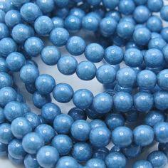 Czech Beads, 6mm Druks, Blue Czech Beads, 30 pieces per strand, CB1D6, Jewelry Supplies, Zardenia