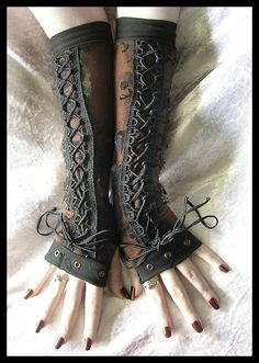 Black lace long cuffs