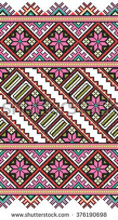 Cross Stitch Borders Embroidered good like old handmade cross-stitch ethnic Ukraine pattern. Cross Stitch Embroidery, Embroidery Patterns, Hand Embroidery, Crochet Patterns, Cross Stitch Borders, Cross Stitch Patterns, Pinterest Cross Stitch, Donia, Pattern Art