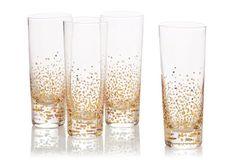 S/4 Gold-Leaf Bubble Cocktail Glasses. Gold paint pen to make festive glasses.