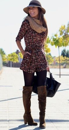 Floral Romper, Leggings, And Suede Boots