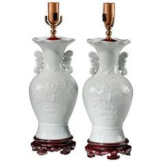 Pair of White Porcelain Vase Lamps | From a unique collection of antique and modern table lamps at https://www.1stdibs.com/furniture/lighting/table-lamps/