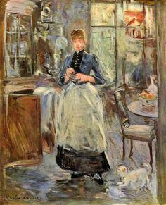 En el comedor (1875), Berthe Morisot (1841-1895), pintora impresionista.