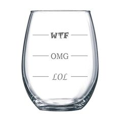 LOL-OMG-WTF Funny Stemless Wine Glass - Finally a Wine Glass for Every Mood! 15 oz Arc Stemless Wine Glass - Humorous Gift or Conversation Starter
