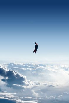 Superman in flight. A beautiful, iconic scene from 2013's Man of Steel, directed by Zack Snyder.
