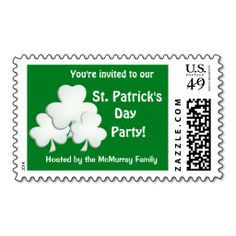 St. Patrick's Day Party Invitation Postage Stamp. This is a fully customizable business card and available on several paper types for your needs. You can upload your own image or use the image as is. Just click this template to get started!