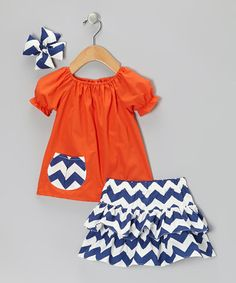 Take a look at this Orange & Navy Zigzag Ruffle Skirt Set - Infant & Toddler by Molly Pop Inc. on #zulily today!SO CUTE FOR AN AUBURN GAME DAY OUTFIT.  WISH I HAD GIRLS!!