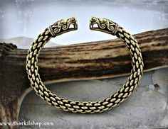 Thick Viking bracelet with large dragon head terminals- replica [BD1]