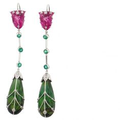 Platinum earrings with pink tourmalines, teal blue green tourmaline briolettes and diamonds by Ricardo Basta for PGI, Los Angeles