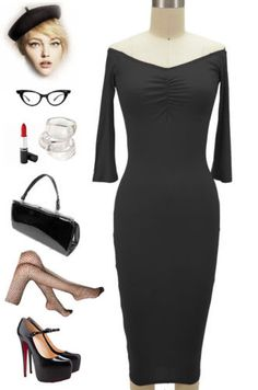 50s-PINUP-Style-BLACK-Off-The-Shoulder-Bombshell-Wiggle-Dress-with-Ruched-Bust