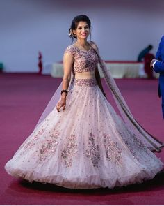 Love this white embroidered bridal lehenga by Mrunalini Rao Lehenga Choli Designs, Wedding Lehenga Designs, Lehenga Wedding, Party Wear Lehenga, Bridal Lehenga Choli, Wedding Hijab, Kurta Designs, Party Wear Indian Dresses, Indian Wedding Gowns