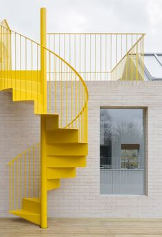 """Architecture Stairs NgLp Designs shares Colours We Love. """"a shabby east London apartment has been given a new lease of life, an upbeat identity and a bright yellow spiral staircase, by the architects. Staircase Architecture, Architecture Details, Interior Architecture, Minimal Architecture, Architecture Artists, Colour Architecture, London Architecture, Stair Detail, Exterior Stairs"""