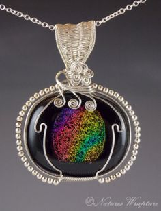 Dichroic Glass and Sterling Silver Wire Wrapped by NaturesWrapture, $65.00