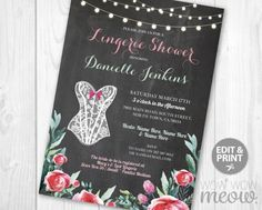 Red Floral Lingerie Shower Invitations Lace Corset by wowwowmeow