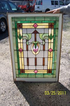 Antique Vintage Stained Glass Window Vibrant Colors   eBay