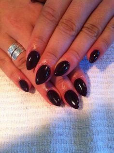 Almond Gel Nails in CND Dark Dahlia