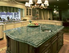 Green Granite Countertops Kitchen — Birches Countertops : Very Beautiful Green Kitchen Countertops Color
