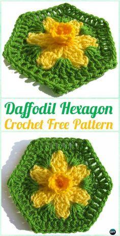 Crochet Daffodil Hexagon Motif Free Pattern - Crochet Hexagon Motif Free Patterns