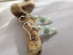 Aquamarine Glass and Pearl Drop Dangle Earrings by Sparklesalot2, $7.50