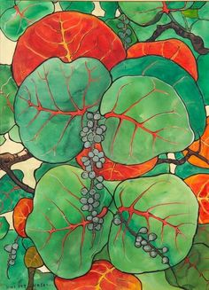"""""""Wild Grape Vines,"""" Jane Peterson, watercolor and gouache on paper/board, sight size 21 1/2 x 29 1/2"""", private collection."""