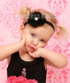 Cuteness......Black Tull Flower Infant Toddler  Bling Headband