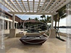 Waterfront Patio Concrete Fire Feature Concrete Fire Pits, Concrete Patio, Fire Pit Gallery, Gazebo, Pergola, Fire Pit Materials, Flagstone, Outdoor Living Areas, Outdoor Furniture
