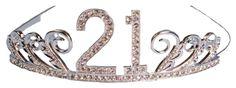 21st Birthday Gifts for Her:  Rhinestone Encrusted 21st Happy Birthday Tiara with Keepsake Box @ Amazon