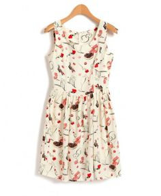 Sleeveless Chiffon Dress with Doodle Print
