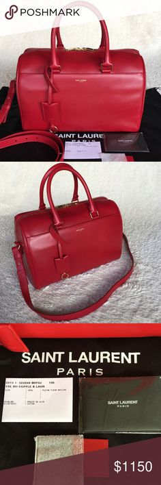 """NEW SAINT LAURENT 322049 LEATHER DUFFLE SATCHEL Authentic. Made in Italy. Brand new with tags. Dust bag and Care card and controllato card included.  Style: 322049 Color/Material: Rouge Orient 6416 / Leather UPC: 805252968 Details: - Top double zip closure - Five protective metal feet - Slip pocket with magnetic closure - Double leather handles with 5.75"""" drop - Embossed Saint Laurent signature on front of bag - Removable strap with 17"""" drop - Front pocket with magnetic closure Interior…"""