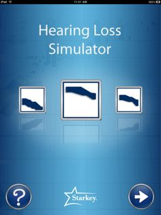 Hearing Loss Simulator ($1.99) allows you to choose a specific hearing loss configuration and then listen to sounds as though you have that particular hearing loss. Contains pre-recorded common sounds and has the option to let you record your own voice for playback through the different hearing loss configurations. The Hearing Loss Simulator includes graphics to show where the common sounds, speech, and individual speech sounds are located for loudness and frequency.