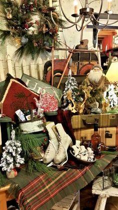 Lodge Christmas @ Brettys … www. Christmas Shop Displays, Christmas Booth, Christmas Lodge, Christmas Window Display, Christmas Store, Primitive Christmas, Country Christmas, Christmas Photos, Vintage Christmas