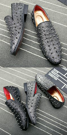 US $28.03 <Click to buy> ECTIC Men Loafers Smoking Slipper Black Spikes Rhinestones Glitter Casual Shoes Wedding Dress Men's Rivets Flats Punk Style